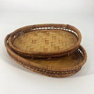 Oval Wicker Woven Tray Basket Set of 2